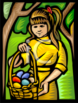 Little Girl Hunting Easter Eggs in the Woods