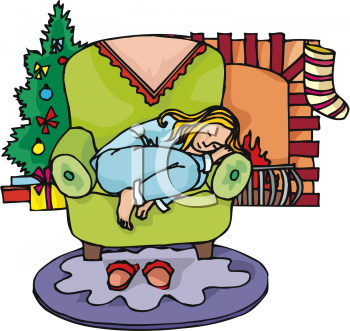 Little Girl Asleep in a Chair on Christmas Eve