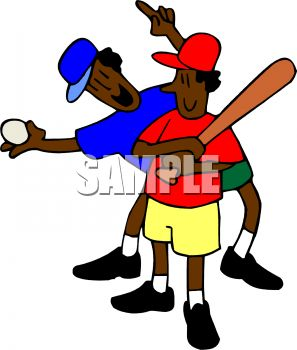 Cartoon of an African American Boy and His Dad Playing Baseball