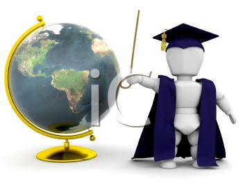 3D Teacher Robot Standing By a World Globe