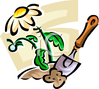 Planting spring flowers royalty free clipart image mightylinksfo Image collections