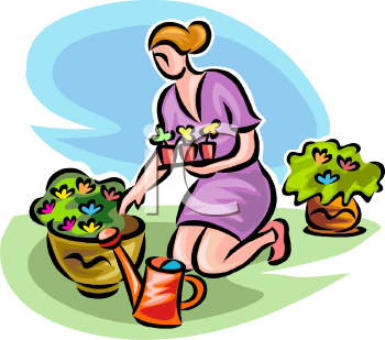 Woman Planting Flowers in Pots