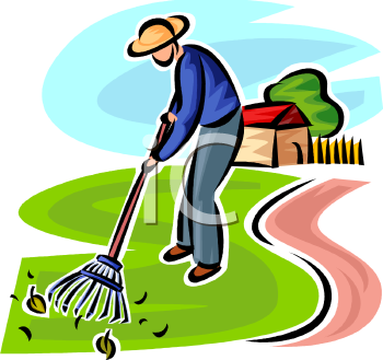 Image result for clip art, raking the lawn