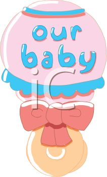 Baby Rattle with Our Baby Text - Royalty Free Clip Art Illustration