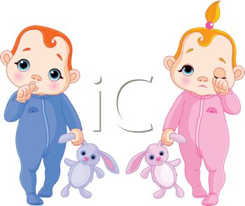 Royalty Free Clip Art Image: Toddlers Going to Bed