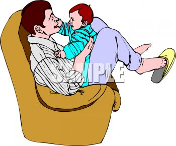Father Playing with His Baby in a Chair