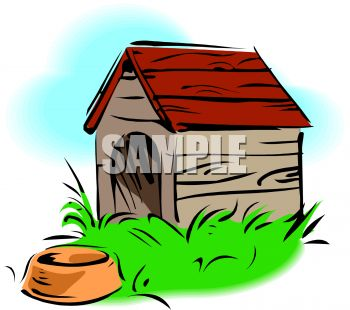 Red dog house clipart