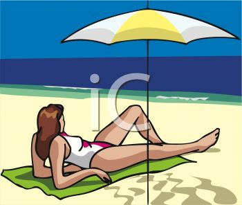 A Woman Laying On The Beach Under An Umbrella - Royalty Free Clip ...