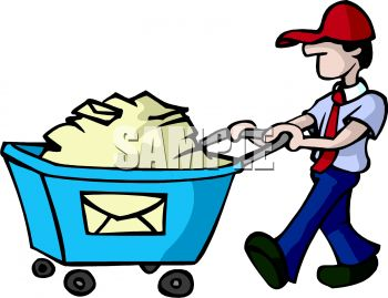 Royalty Free Clip Art Image Postal Worker Pushing A Bin Full Of