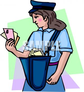 Mail Carrier Looking at Letters in Her Hand