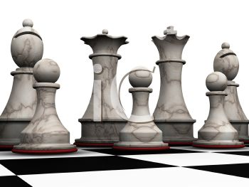 Close Up of  3D Chess Pieces