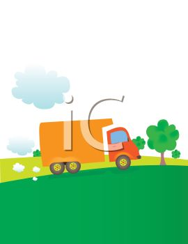 Cartoon Delivery Truck Driving Up a Grassy Hill