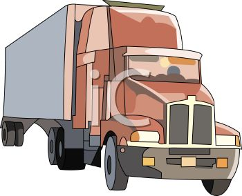Cartoon Drawing of a Semi Truck