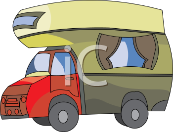 Royalty Free Clipart Image Cartoon Over Cab Camper Truck