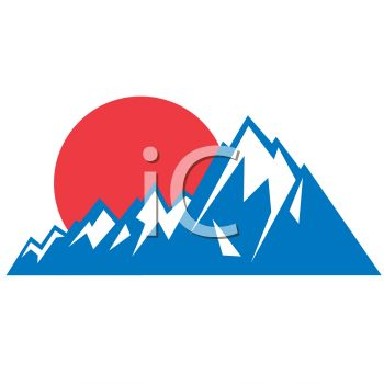 "This ""mountain sunset icon"" clip art image is available as part of a low"
