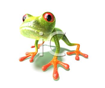 Cute Little 3D Frog with Red Feet