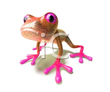 Cute Little 3D Frog with Pink Feet