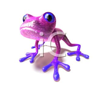 Cute Little 3D Frog with Blue Feet