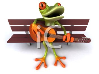 3D Tree Frog Playing Guitar on a Park Bench
