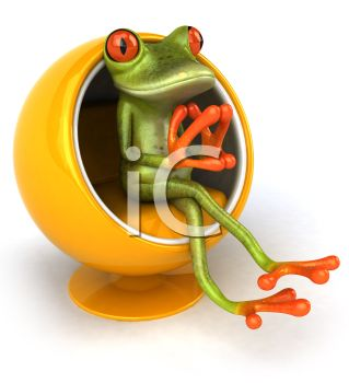3D Tree Frog Sitting in a Retro Bubble Chair