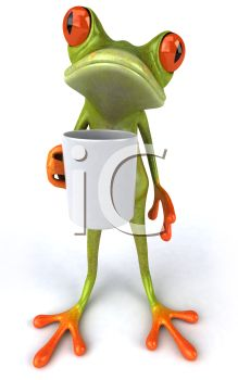 3D Tree Frog Holding a Cup of Coffee