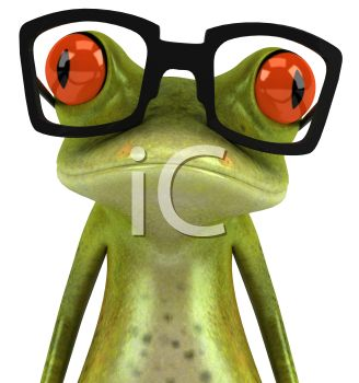 3D Tree Frog Wearing Glasses