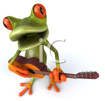 3D Tree Frog Singing and Playing Guitar