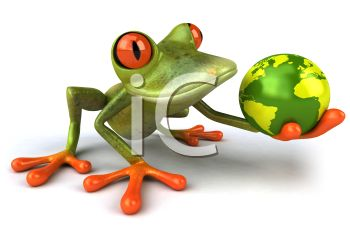 3D Tree Frog Holding the World