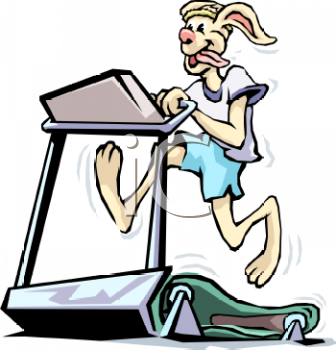 Royalty Free Clip Art Image: Rabbit Working Out on a Treadmill