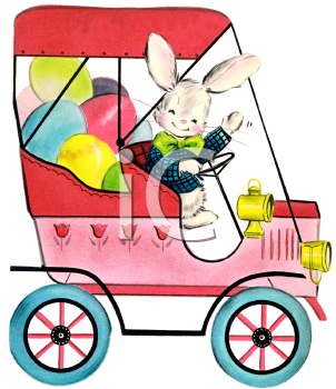 Vintage Easter Bunny Driving a Car Full of Easter Eggs
