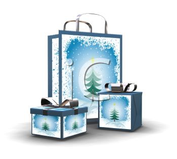Christmas Gifts in Boxes and a Shopping Bag