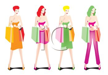 Sexy Women Holding Shopping Bags