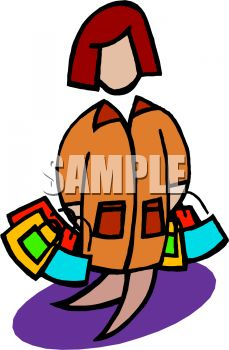 Cartoon of a Woman Carrying Gift Bags