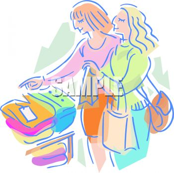 Clip Art Friends Shopping for Clothes