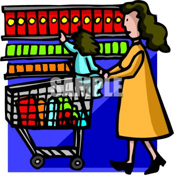 Little Girl Grocery Shopping with Her Mom