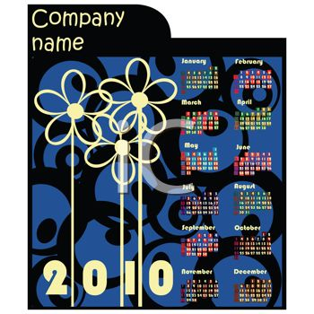 Blue and Black 2010 Yearly Calendar