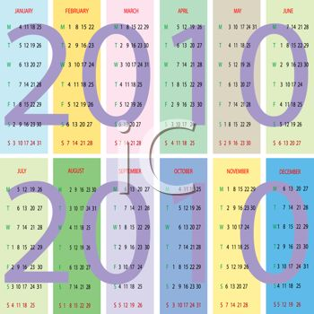 Pastel Blocks of Color 2010 Yearly Calendar