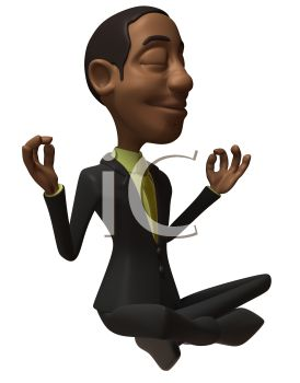 3D African Businessman Doing Yoga