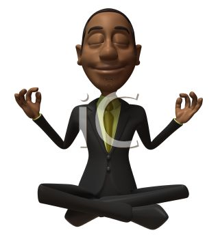3D African American Businessman Meditating