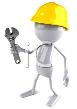 3D Workman with a Wrench Computer Character