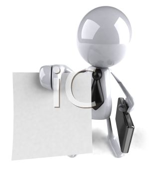 3D Computer Character  Holding a Document and a Briefcase