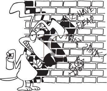 Black and White Dog Cartoon of a Dog Spraying Graffiti on a Wall