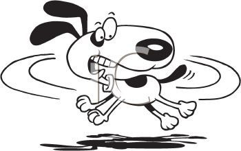 Black and White Dog Cartoon of a Dog Chasing His Tail