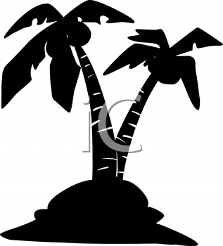 Silhouette of Palm Trees on an Island