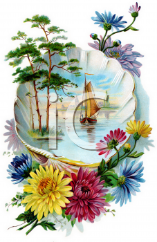 Ship Sailing in a Seashell with Beautiful Flowers