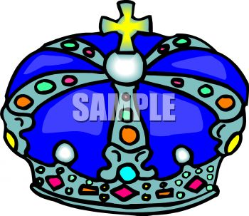 Cartoon of a Blue Crown with a Cross on Top