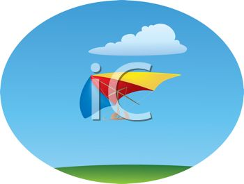 Royalty Free Clip Art Image: Hang Glider in a Clear Blue Sky