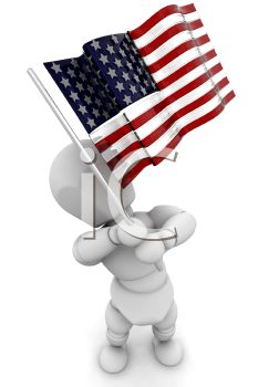 3D Robot Holding the American Flag