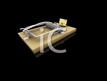 3D Mousetrap on a Black Background