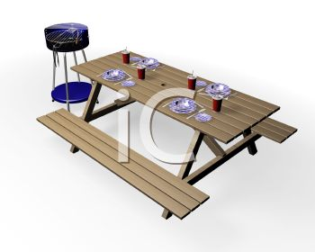 3D Picnic Table and BBQ Grill with Place Settings on the Table